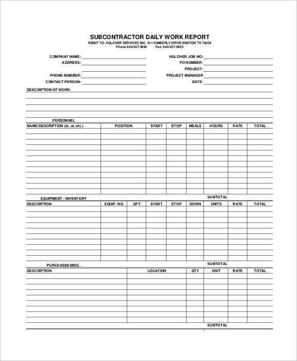Sample Daily Work Report Template 22 Free Documents In