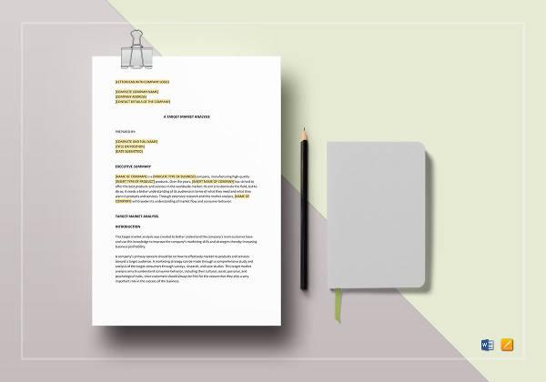 sample target market analysis 5 documents in pdf