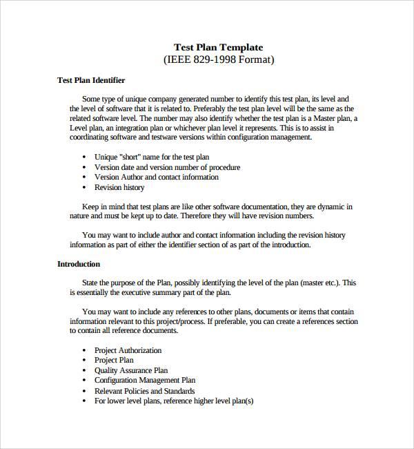 testing plan template