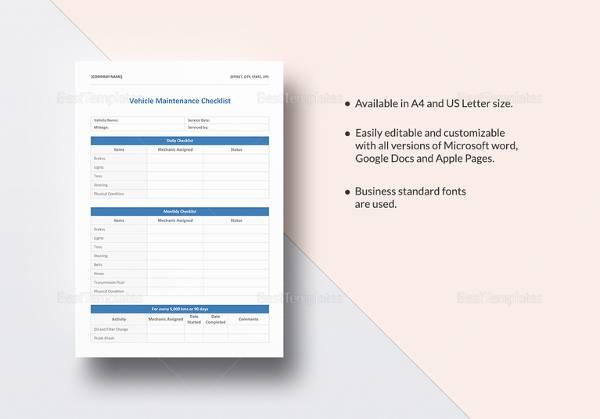 vehicle maintenance checklist template