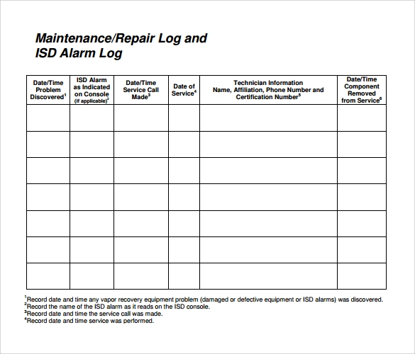 Equipment Maintenance Log Equipment Maintenance