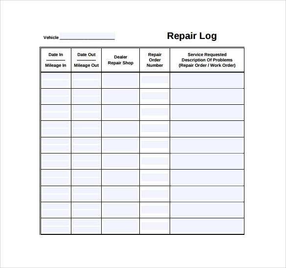 Sample Repair Log Template   Free Documents In Pdf Excel