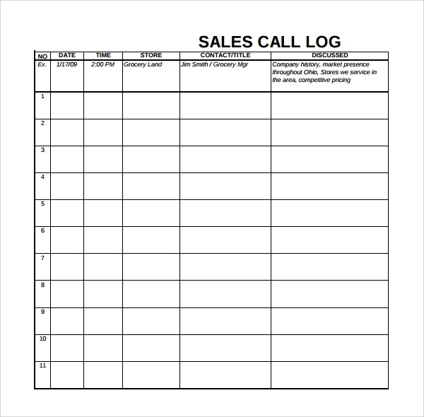 Sales Log Template Sales Call Log Template Call Log Template