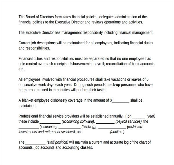 insurance agency procedure manual template  7 Accounting Manual Templates to Download | Sample Templates