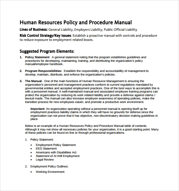 HR Policies U0026 Procedures Manual Template  Business Manual Templates