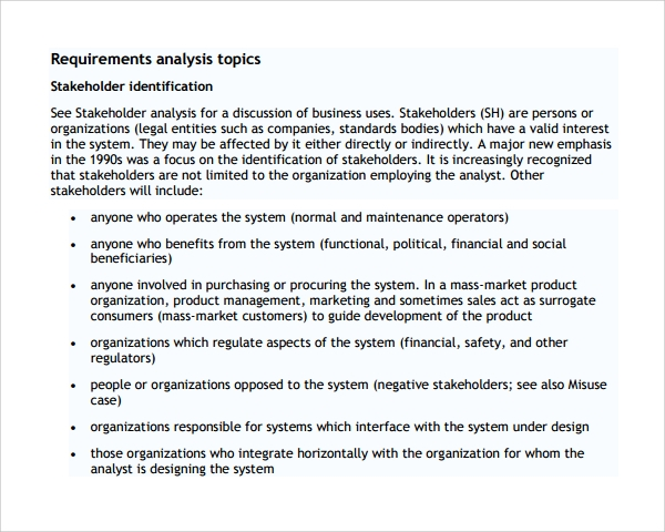 requirement analysis template example