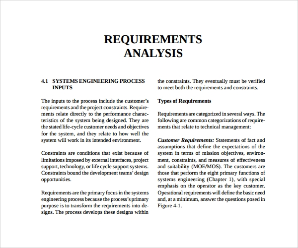 requirement analysis templates