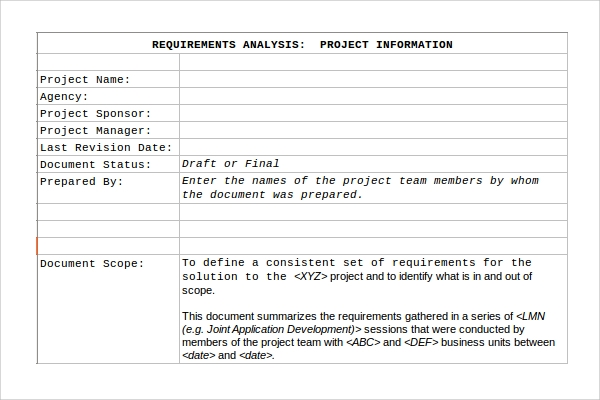 requirement analysis template excel