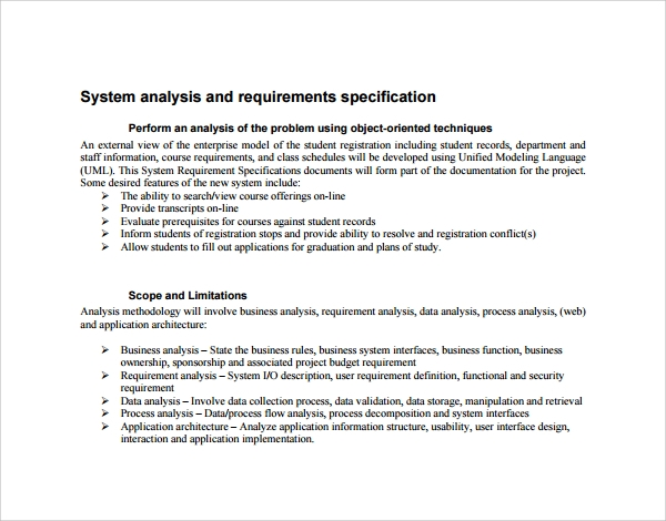 system analysis and requirement