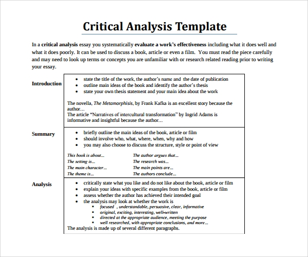 Sample Critical Analysis Template   Free Documents In Pdf