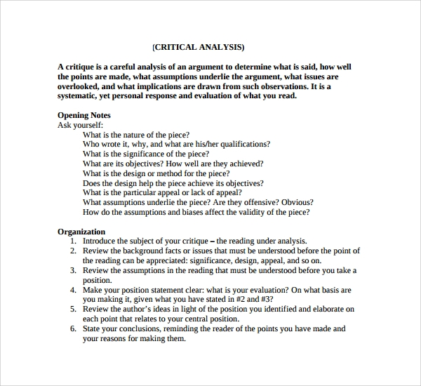 sample critical analysis template