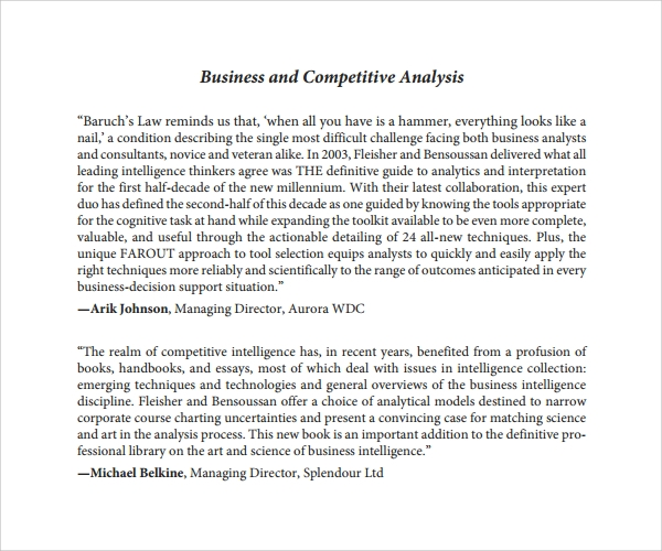 Sample CompetitorS Analysis Template   Free Documents In Pdf