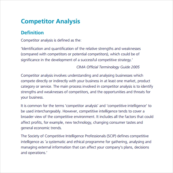 sample competitor's analysis