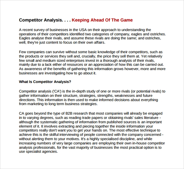 Fancy Competitor Analysis Template Sketch - Examples Professional ...