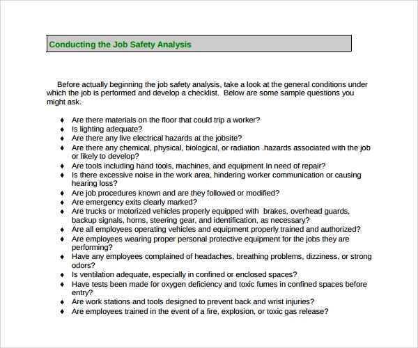 Construction Job Safety Analysis Template  Job Safety Analysis Form Template