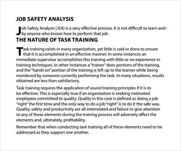 Sample Job Safety Analysis Template 6 Free Documents in PDF – Job Safety Analysis Form Template