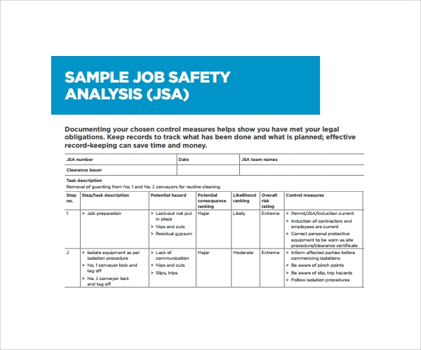Sample Job Safety Analysis Pdf  Job Site Analysis Template