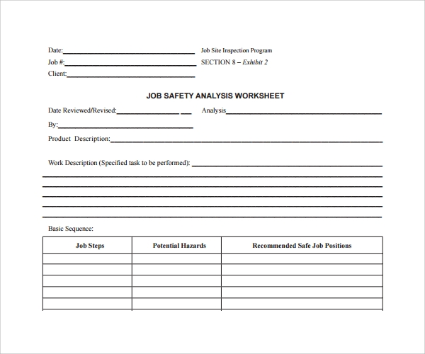 Job Safety Analysis Worksheet  Job Safety Analysis Template