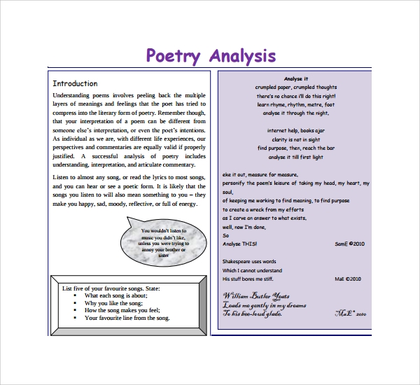 sample poetry s analysis template 6 free documents in pdf. Black Bedroom Furniture Sets. Home Design Ideas
