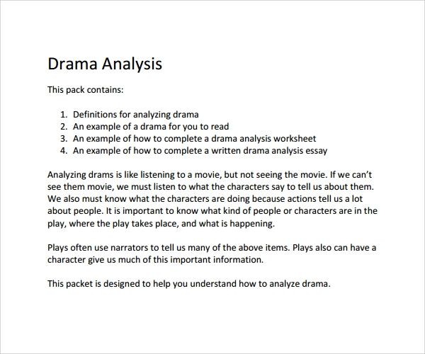 how to write a drama analysis essay Be sure to write your name on extend on the main points in your essay t ransitional p how to write a comparative analysis.