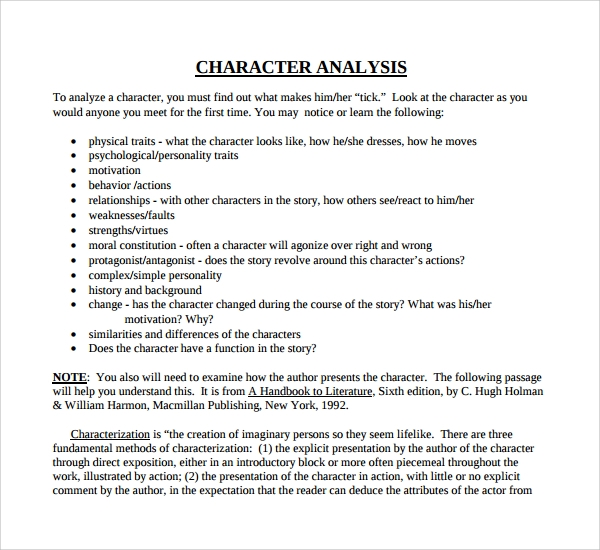 Sample Character Analysis Template   Free Documents In Pdf Word