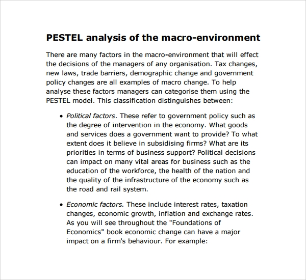 sample pestle analysis template 10 free documents in pdf