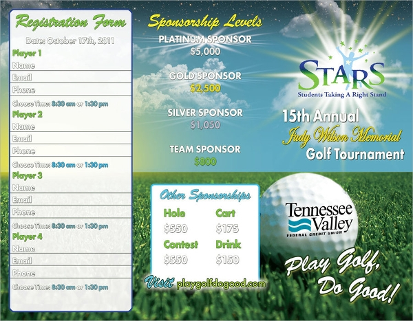 stars golf tournament brochure