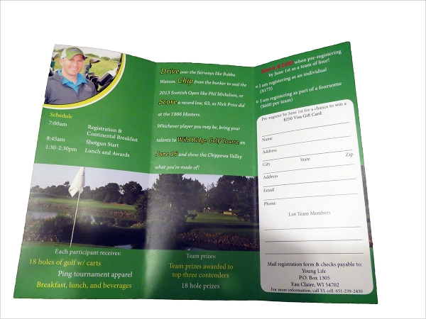 amazing golf tournament brochure template
