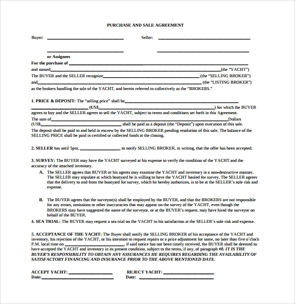 sample boat purchase agreement