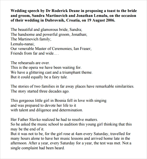 Sample Wedding Speech Example 7 Free Documents Download in PDF – Speech Examples