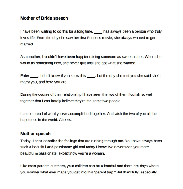Sample Wedding Speech Example