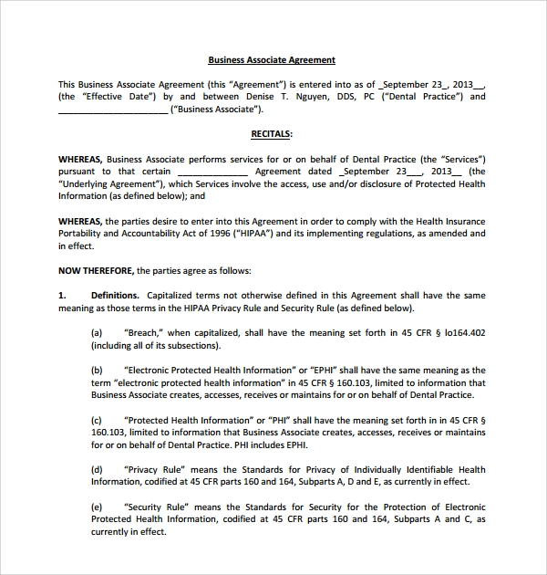 Sample Business Associate Agreement   Free Documents Download