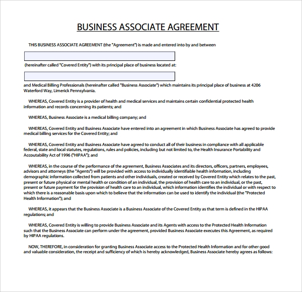 sample business associate agreement