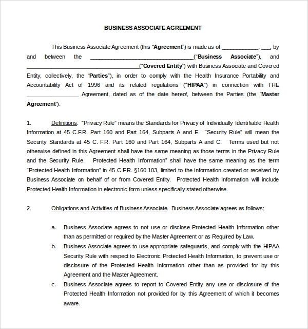 Sample Business Associate Agreement 9 Free Documents Download – Business Associate Agreement Template