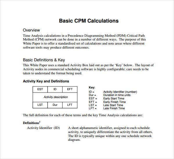 basic cpm calculation