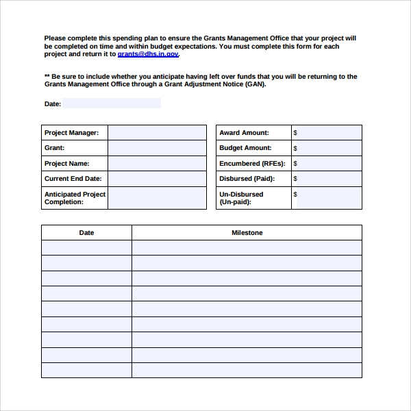 project spend plan template