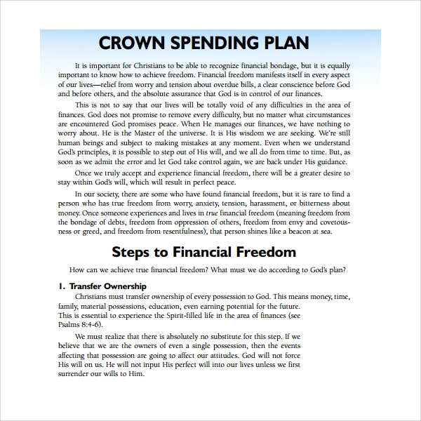 crown spend plan template