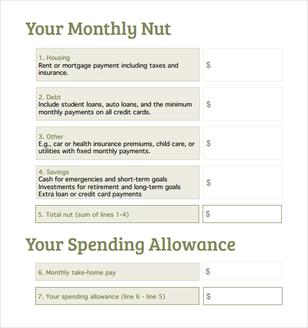 simple spend plan template
