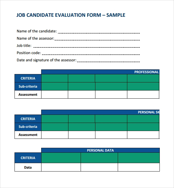 evaluation form for job candidate  Sample Candidate Evaluation Form - 5+ Free Documents ...