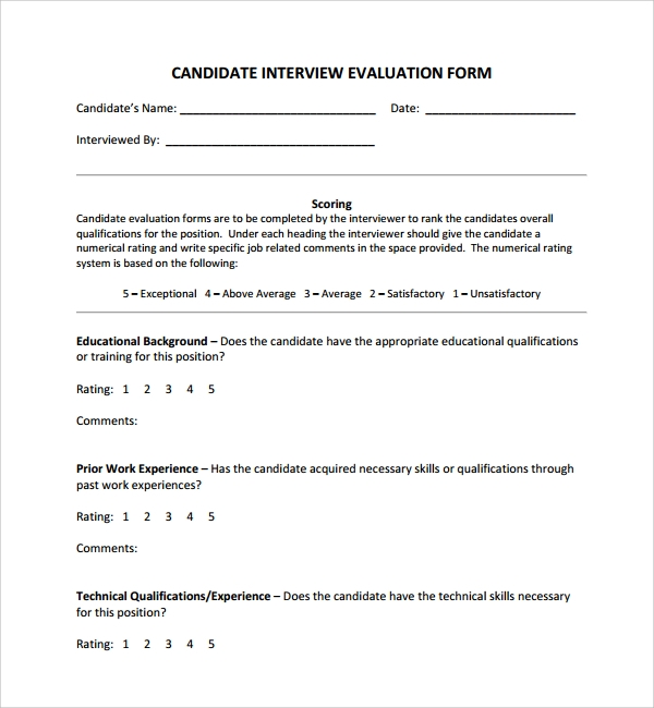 Sample Candidate Evaluation Form 9 Free Documents Download in – On the Job Training Evaluation Form