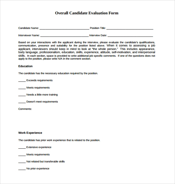 Sample Candidate Evaluation Form 9 Free Documents Download in – Candidate Evaluation Form