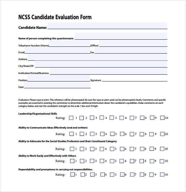 Sample candidate evaluation form 9 free documents for Candidate application form template