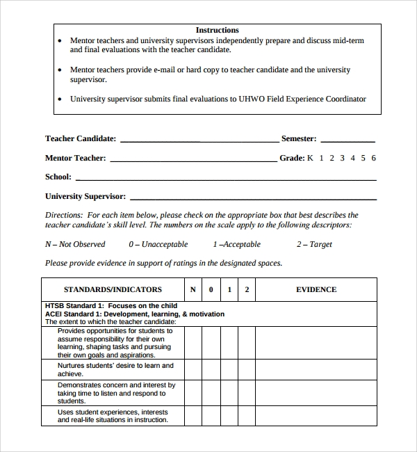 Sample Candidate Evaluation Form   Free Documents Download In