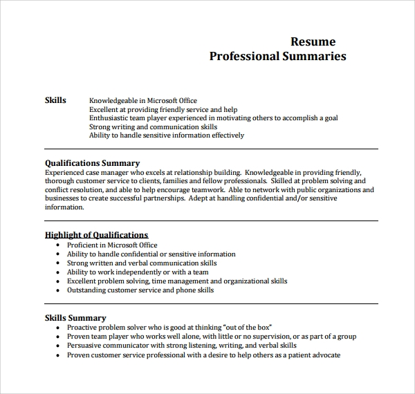 Sample Professional Summary Template   Free Documents In Pdf