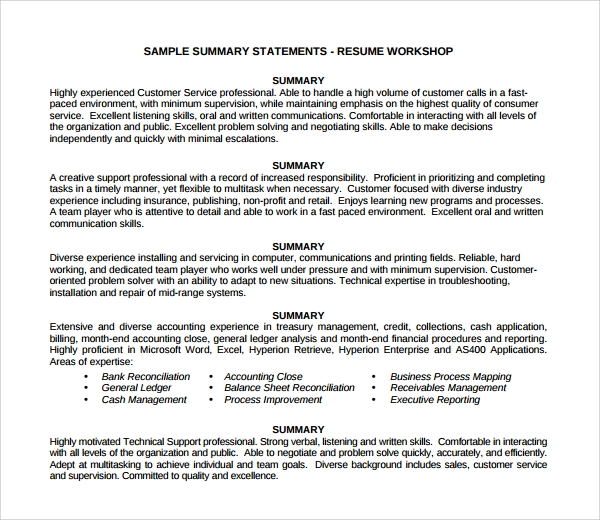 Sample Professional Summary Template 9 Free Documents