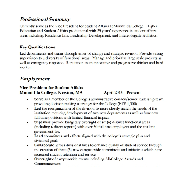 sample professional summary template 8 free documents