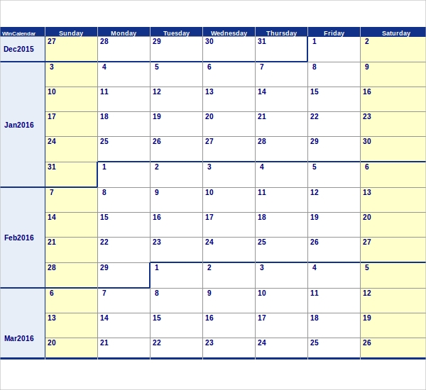 Sample Calendar Template 9 Samples Examples Format – Sample Calendar