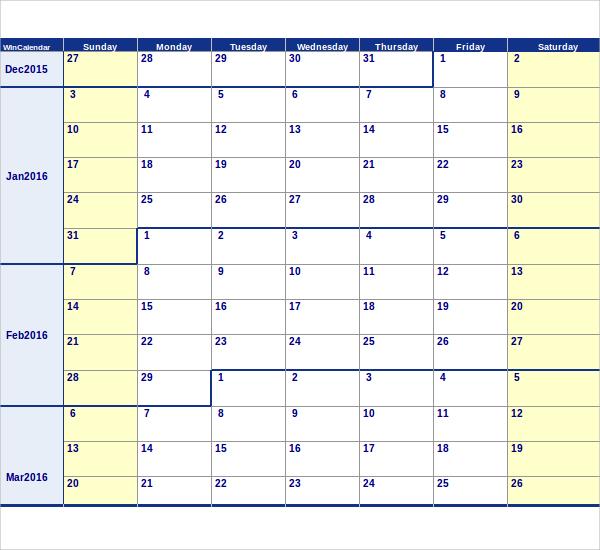 Sample Calendar Template 9 Samples Examples Format