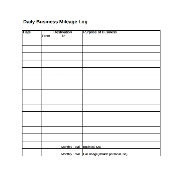 Mileage Log Template Word Format Time Log Template Word Log