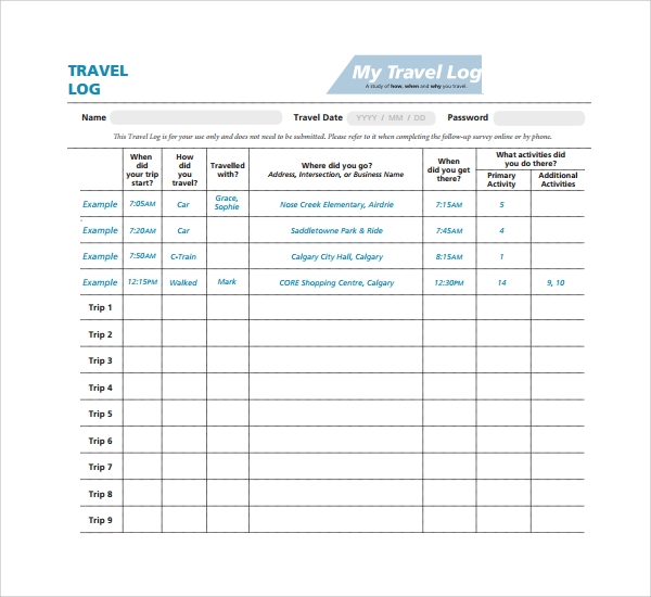 trip log template travel log template - Roberto.mattni.co